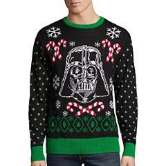 Novelty Season Crew Neck Long Sleeve Star Wars Cotton Blend Pullover Sweater
