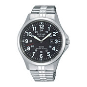 Pulsar® Traditional Mens Stainless Steel Solar Expansion Strap Watch PX3069