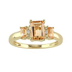 Genuine Citrine and Diamond-Accent 3-Stone Ring