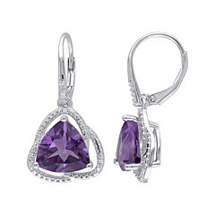 Genuine Amethyst and Diamond–Accent Drop Earrings