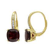 Genuine Garnet and Diamond-Accent Leverback Drop Earrings