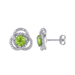 Genuine Peridot and 1/10 CT. T.W. Diamond Earrings