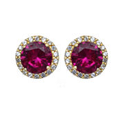 Lab-Created Ruby and White Sapphire Halo Earrings