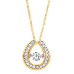 Love in Motion™  1/5 CT. T.W. Diamond 10K Yellow Gold Teardrop Pendant Necklace