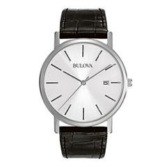 Bulova® Mens Silver-Tone Dial Black Leather Strap Watch 96B104
