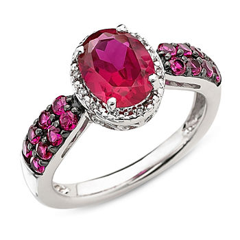 Lab created Oval Ruby Amp Diamond accent Ring