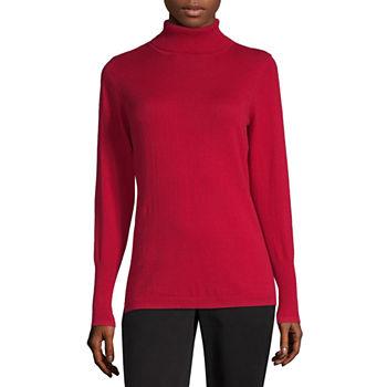 Worthington Womens Turtleneck Long Sleeve Pullover Sweater