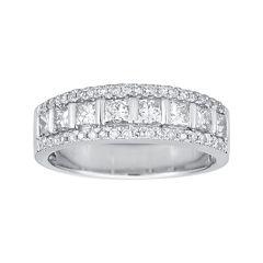 1 CT. T.W. Certified Diamond 14K White Gold Princess-Cut Band