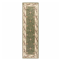 Fleur de Lis Hand-Carved Wool Runner Rug