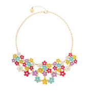 Liz Claiborne Flower Drama Necklace Multi Goldtone
