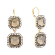 Monet Brown And Goldtone Double Drop Earring