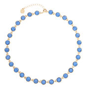 Monet Jewelry Womens Blue And Goldtone Collar Necklace