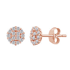Round White Sapphire 14K Gold Over Silver Stud Earrings