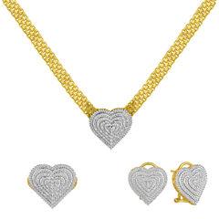 Womens 3-pc. 1/5 CT. T.W. White Diamond Gold Over Brass Jewelry Set