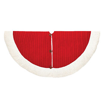 Kurt Adler 48 Red And White Cable Knit Tree Skirt