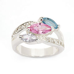Sparkle Allure Womens Multi Color Cubic Zirconia Silver Over Brass Cocktail Ring