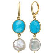 Blue Quartz Gold Over Silver Drop Earrings