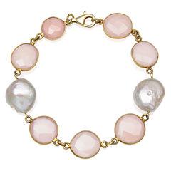 Womens 7.5 Inch Pink Quartz 14K Gold Over Silver Link Bracelet