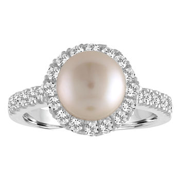 Cultured Freshwater Pearl Amp Lab created White Sapphire Sterling Silver Cocktail Ring