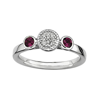Personally Stackable Double Rhodolite Amp Diamond accent Ring