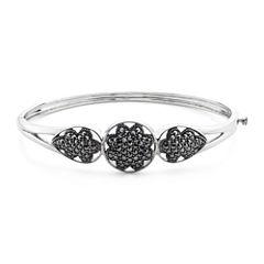 Pavé Marcasite Sterling Silver Floral Bangle