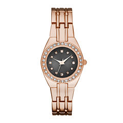 Womens Crystal-Accent Taupe Dial Rose-Tone Bracelet Watch