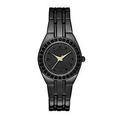 Womens Crystal-Accent Black Dial Black Bracelet Watch