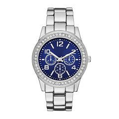 Womens Crystal-Accent Blue Dial Boyfriend Bracelet Watch