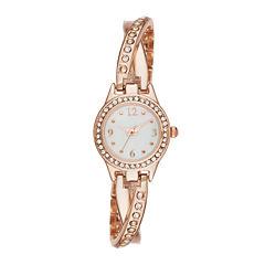 Geneva Womens Crystal-Accent Rose-Tone Twist Bracelet Watch