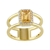 Genuine Citrine and Diamond-Accent Split-Band Ring