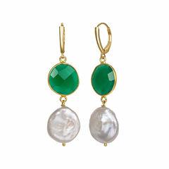 Green Quartz 14K Gold Over Silver Drop Earrings