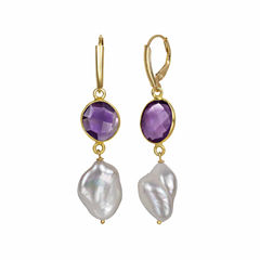 Purple Quartz 14K Gold Over Silver Drop Earrings