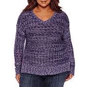 Arizona Long Sleeve V Neck Pullover Sweater-Juniors Plus