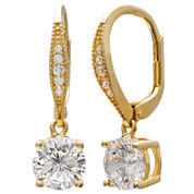 Gold Reflection Cubic Zirconia Gold Over Brass Drop Earrings