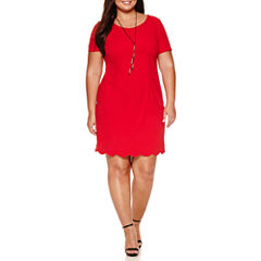 Alyx Short Sleeve Scallop Trim Sheath Dress with Necklace-Plus