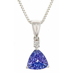 LIMITED QUANTITIES! Diamond Accent Blue Tanzanite 14K Gold Pendant Necklace