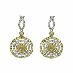 1 1/2 CT. T.W. Yellow Diamond 14K Gold Drop Earrings