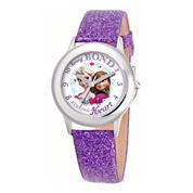 Disney Frozen Anna & Elsa Purple Glitter Strap Watch
