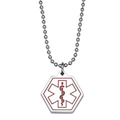 Personalized Medical ID Hexagon Pendant Necklace