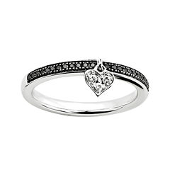 Personally Stackable 1/7 CT. T.W. Diamond Ring w/ Heart Charm
