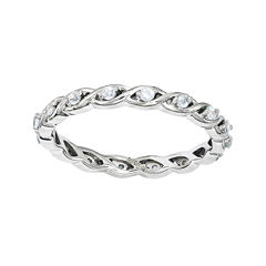 Personally Stackable Genuine Aquamarine Twisted Eternity Ring