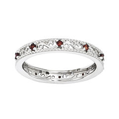Personally Stackable Genuine Garnet Filigree Eternity Ring