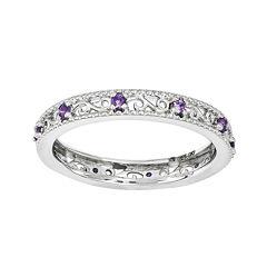 Personally Stackable Genuine Amethyst Filigree Eternity Ring