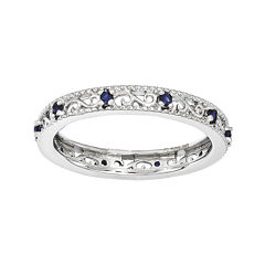 Personally Stackable Lab-Created Blue Sapphire Filigree Eternity Ring