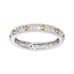 Personally Stackable Genuine Citrine Filigree Eternity Ring