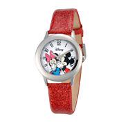 Disney Mickey & Minnie Kids Red Glitter Watch