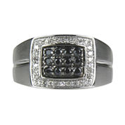 LIMITED QUANTITIES  Mens 1/2 CT. T.W. White Diamond and Black Sapphire Ring
