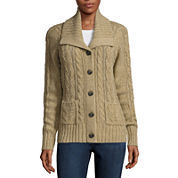 St. John's Bay® Long-Sleeve Cable-Knit Cardigan