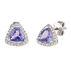 Trillion Purple Tanzanite Sterling Silver Stud Earrings