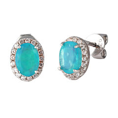 Oval Blue Opal Sterling Silver Stud Earrings